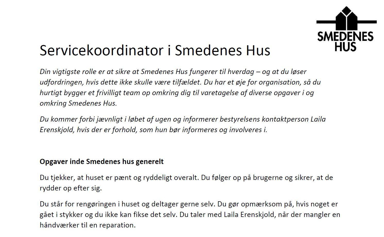 Smedenes Hus søger Servicekoordinator